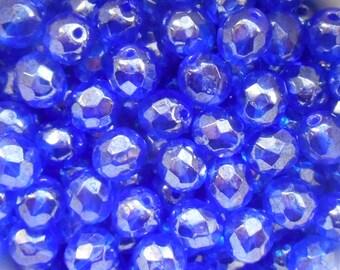 25 8mm Sapphire Blue Iridescent Shimmer Czech glass firepolished, faceted beads C1625
