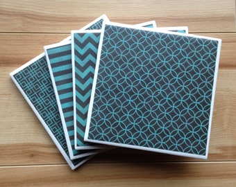 Drink Coasters, Chalkboard Drink Coasters, Chalkboard Design Ceramic Tile Drink Coasters, Teal and Black Chalkboard Image Drink Coasters