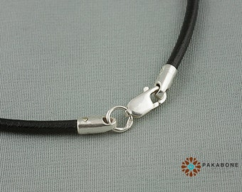 Necklace Genuine Leather Cord With Silver Clasp 60cm 000-961