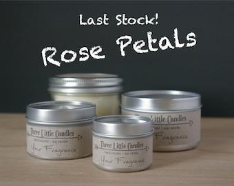 Rose Petals Soy Candle - 2oz, 4oz or 8oz Tins or Mason Jar 170g