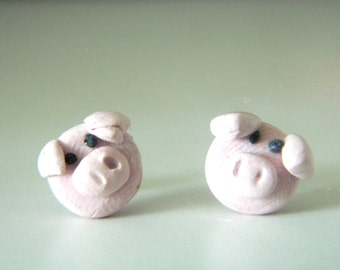 Handmade Polymer Clay Pig Earrings