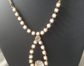 VintageWhite Milk Glass And Rhinestone Necklace