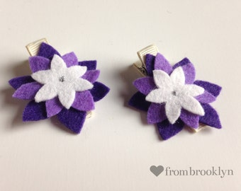 Purple flower hair clips- set of 2