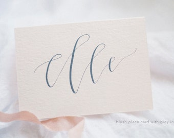 Modern Calligraphy Blush Place Cards with Silver or Gray Ink | Table Setting | Bridal Shower | Wedding | Special Event | Romantic | Modern