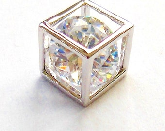 Floating Zircon Cube Pendant, 925 Sterling Silver 7mm X 7mm