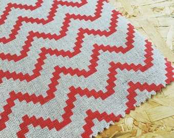 Geometric Fabric- Red Fabric- Linen- Fabric By The Metre- Curtain fabric- Natural Linen- Bright Fabric- Beige Fabric- Natural Fabric