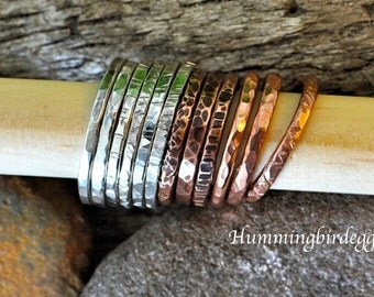 Stacking rings set sterling silver or copper textured antiqued or shiny-SET OF 3- stacking rings silver stack rings or copper stack rings