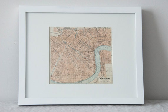 Framed 1909 New Orleans Louisiana Antique Map