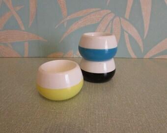 Set of 3 1960s plastic egg cups