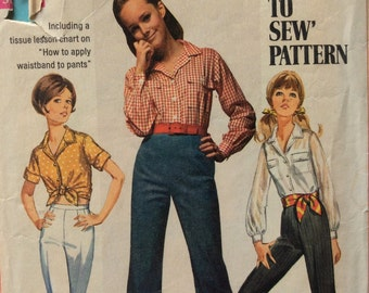 Simplicity 8009 junior misses shirt and bell-bottom pants size 11/12 bust 32 waist 25 vintage 1960's sewing pattern
