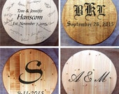 Custom-made Wine or Bourbon Whiskey Barrel Head, Wedding Guest Book   Gift   Wall Art   Lazy Susan   Serving Tray   Table Top
