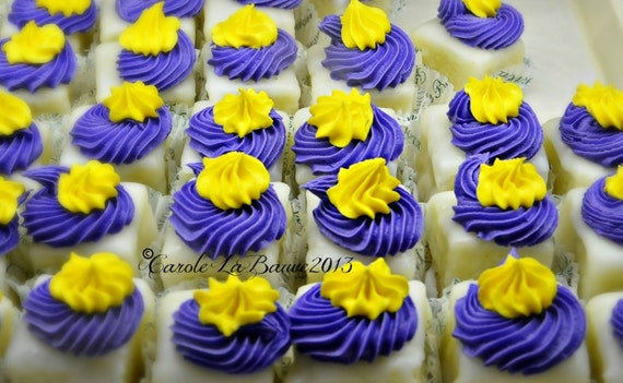 FOOD PHOTOGRAPHY ~ Petit fours ~ Bite size cakes ~ Purple and Gold Dessert ~ Restaurant or Kitchen Wall Art ~ Fine art photography