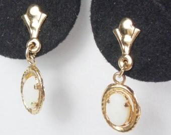Vintage 14k Opal Earrings 14k Gold Dangle Earrings Natural Genuine Opal Dangle Drop Earrings October Birthstone Earrings Post Earrings