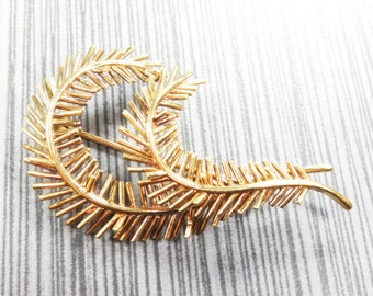 Vintage Tiffany Pin 18k Pin 18k Gold Pin Yellow Gold Feather Pine Bough Pin Tiffany & Co Italy Pin Brooch