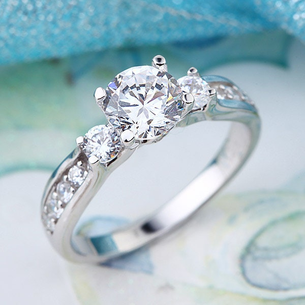 Lab created diamond wedding promise ring fine 925 by for Lab created diamond wedding rings