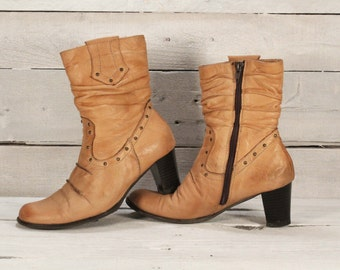 Ankle boots - Western cowgirl boots - Vintage leather boots - Women's boots - Tan color boots - Boho leather boots - Ladies leather boots