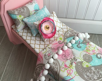 """Pink Paisley american doll bed, 18"""" doll bed, American doll bed, doll bed, American girl bedding, doll bedding, pink paisley doll bedding"""