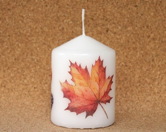 Candle autumn berries fruit leaves 8 cm Stumpe pillar candle Apple white Maple BlackBerry Acorn Eisbaerchenmama