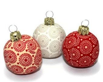 Christmas balls mini 3 set circles red cream beige 4.5 cm unbreakable sewn balls baubles Christmas ornament Eisbaerchenmama