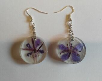 purple dangle resin earrings