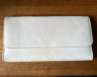 White leather clutch.