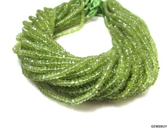 4 mm Natural GREEN PERIDOT AAA roundel beads faceted gemstone...