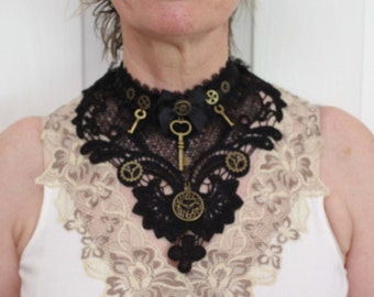 Steampunk collar choker bib necklace in Gothic black lace