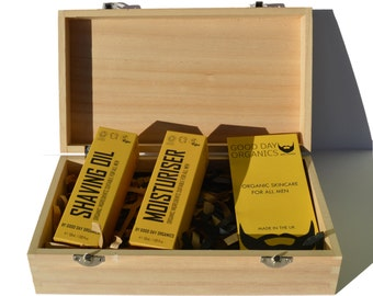 Men's Certified Organic Shaving Oil Grooming Gift Set in Timber Box - Vegan / Cruelty Free / Organic - Natural. Made in the UK (2 x 50ml)