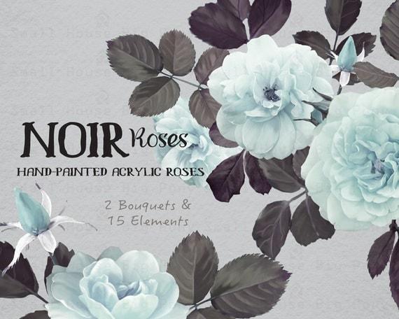 Digital Clipart- Watercolor Flower Clipart, peonies Clip art, Floral Bouquet Clipart, wedding flowers clip art- Noir Roses