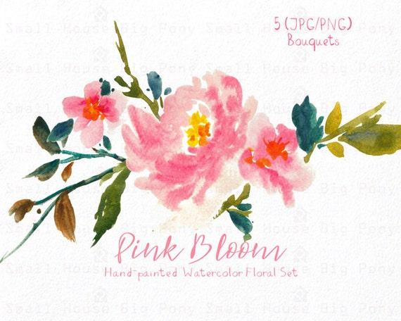 Watercolour Floral Clipart. Handmade, watercolour clipart, wedding diy elements, flowers - Pink Bloom