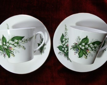 Set of Two 1950's Lily of the Valley Bone China Cups and Saucers