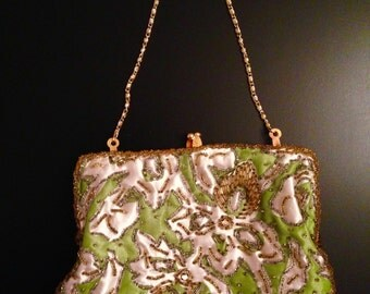 Hand made beaded bag from Hong Kong, green and ivory with gold and clear beading.