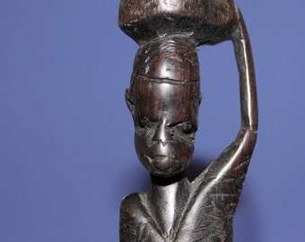 Vintage Hand Carved Wood African Man Carrying Bag On The Head Statuette