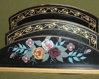 Vintage Floral Wood Desk & Paper Holder