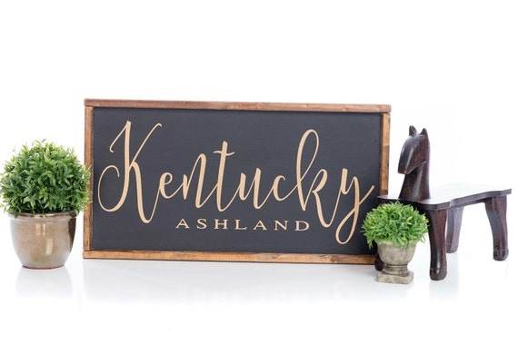 City State Sign, handmade sign, wooden sign, hand painted, custom, local, farmhouse decor, gift, state, city, rustic