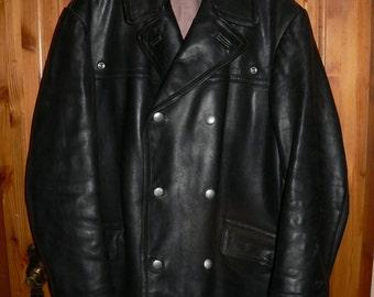 German fire brigade heavy leather coat EU 56 / US UK 46   2xl