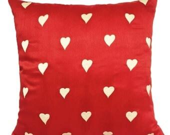 Heart Pillow Valentine Pillow Cover Red Pillow Love Pillow Custom Made Valentine Gift Love Wedding Anniversary Gift Little Hearts Pillow