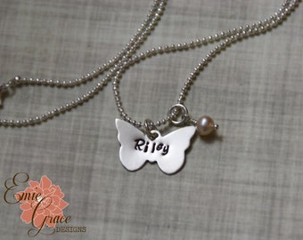 Butterfly Necklace, Name Necklace, Personalized Jewelry, Sterling Silver & Pink Pearl, Hand Stamped