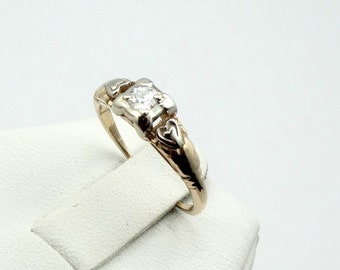 Give Her Your Heart!  Antique Diamond 14K Gold Heart Promise Ring  #HEART-GR4