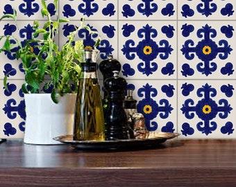 Tile Decals - Tiles for Kitchen/Bathroom Back splash - Floor decals - Mexican Cava Vinyl Tile Sticker Pack color Indigo Blue