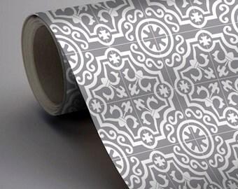 Moroccan Lys Wallpaper in Grey  Removable Vinyl Wallpaper - Peel & Stick - No Glue, No Mess