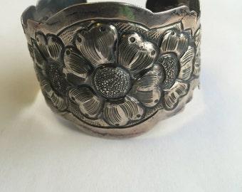 Sterling Flower Cuff
