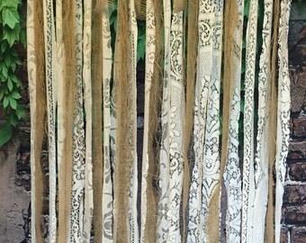 Long burlap lace garland, Shabby wedding decorations ,Shabby Chic Wedding, background garland,nursery decor, rustic party decor