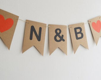 Initial Name Bunting, Wedding Decoration, Photo Booth Prop, Engaged Banner, Rustic Bunting, Wedding Name Banner, Chair Sign