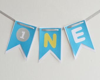 Blue and White High Chair 1st Birthday Banner, Baby Boy Bunting, Party Decoration