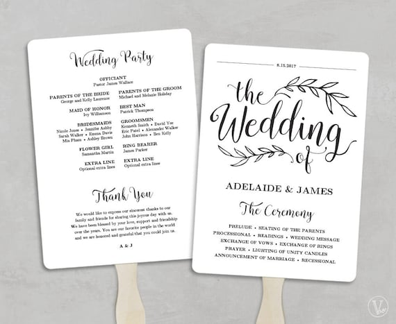 printable wedding program template fan wedding by vinewedding