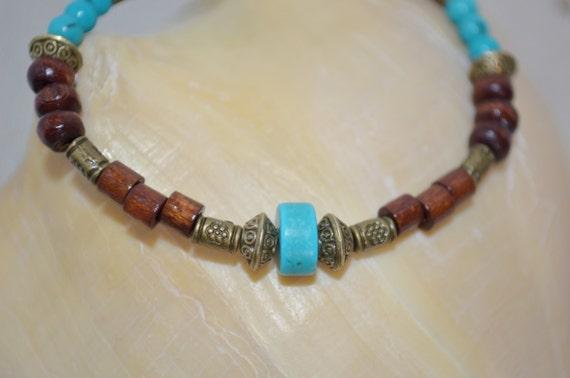 Bracelet Turquoise & Wood Beads, Turquoise Bracelet, Wood Bead Bracelet, Wood Bead Turquoise Bracelet, Southwestern Turquoise Bracelet