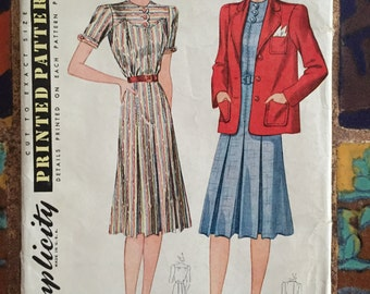 1940 Dress and Jacket, Simplicity Pattern #3317 size 20, bust 38 unused factory folded