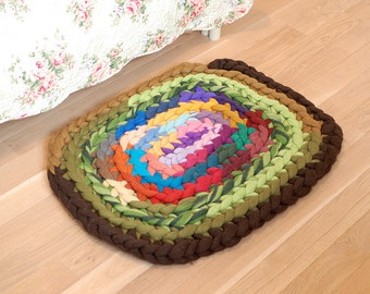 Bedside rugs Super Bulky crochet 100% merino wool rug - Chunky Bedroom rug home decor wool carpet