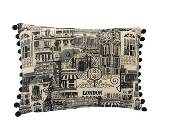 Bespoke country style shabby chic cushion cover pillow black & beige streets of London big ben Designer fabric pom pom trim on both sides
